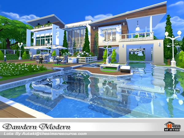 Sims 4 Dawdern Modern house by autaki at TSR