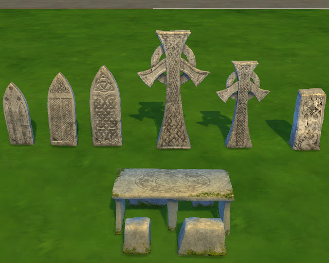 Celtic tombstones and picnic table at Mara45123 image 668 Sims 4 Updates