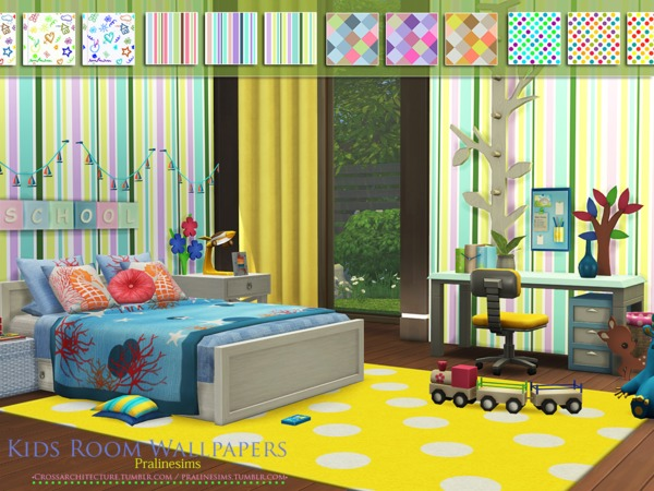 Sims 4 Kids Room Wallpapers by Pralinesims at TSR