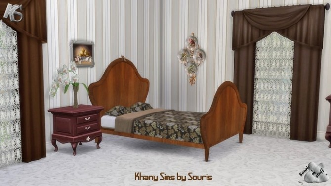 Sims 4 French bedroom by Souris at Khany Sims