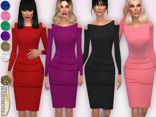 Sims 4 On Trend Cold Shoulder Bodycon Dress  by Harmonia at TSR