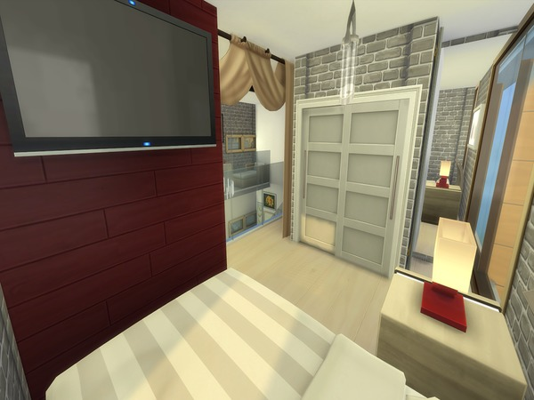 Red velvet 8x8 cubic apartment by pxiplays at tsr sims 4 for 8x8 living room