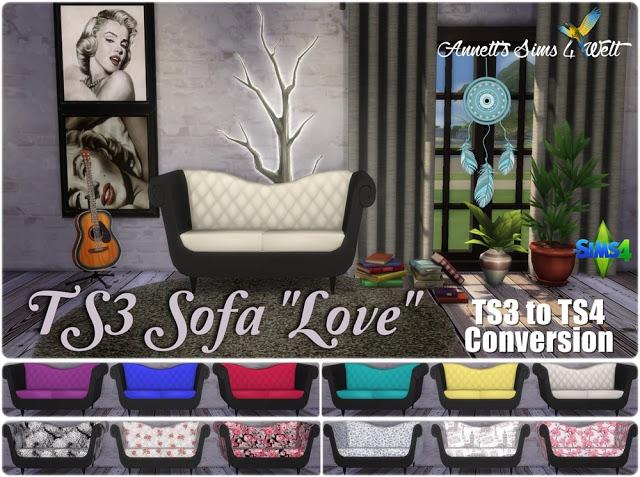 Sims 4 TS3 to TS4 Conversion Sofa Love at Annett's Sims 4 Welt