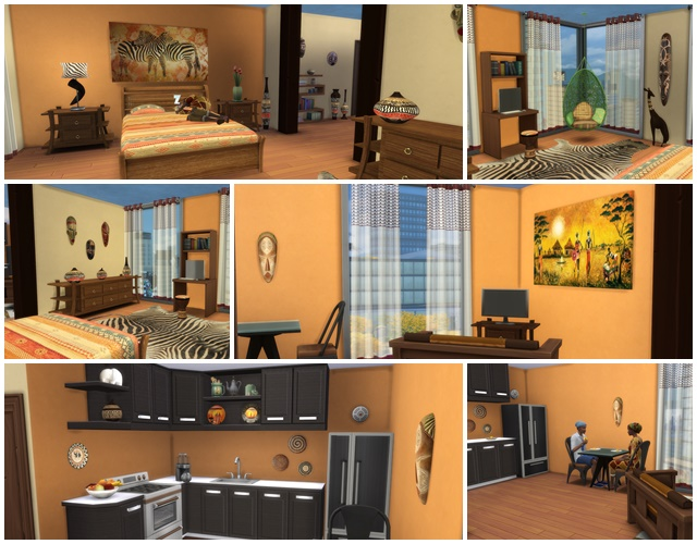 Sims 4 African Style Apartment by Meryane at Beauty Sims