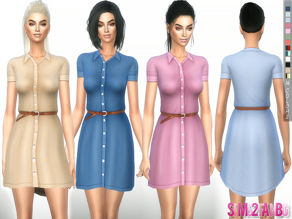 Sims 4 245 Shirt dress with belt by sims2fanbg at TSR