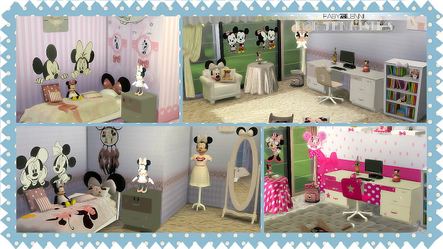 Sims 4 Kids Furniture Bedroom Minnie Mouse Faby&Jenni (19 items) at Jenni Sims