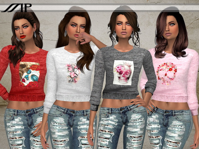 Sims 4 MP Flower Skull Sweaters at BTB Sims – MartyP