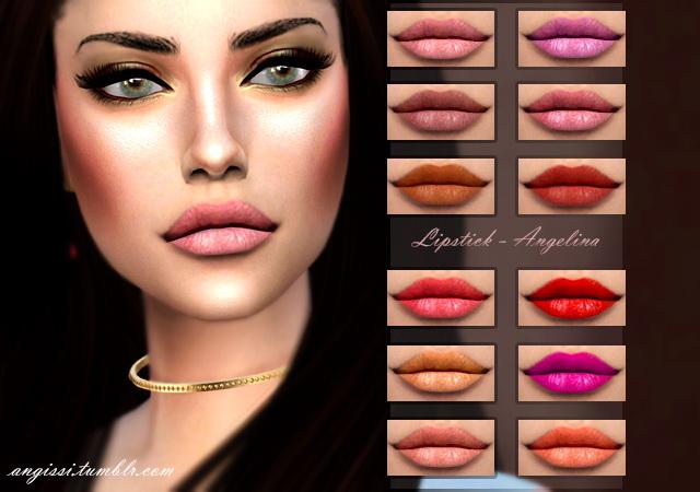 Sims 4 Angelina lips and eyes at Angissi