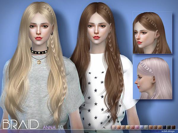 Sims 4 Anna braid hair by S Club at TSR