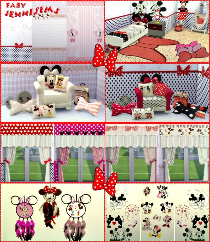 Sims 4 Set Minnie Mouse Vol3 (Stencil, Rugs, Curtains, Wallpaper, Cushions) by Faby at Jenni Sims