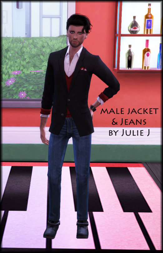 Sims 4 Male Jacket and Jeans by Julie J at Julietoon – Julie J