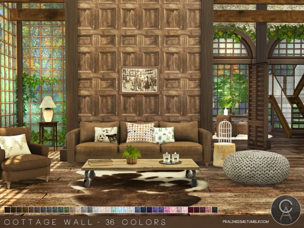 Sims 4 Cottage Wall by Pralinesims at TSR