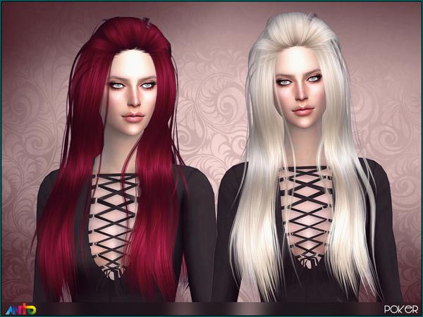 Sims 4 Poker Hair by Anto at TSR