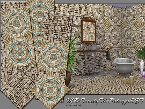 MB Trendy Tile Palazzo Set by matomibotaki at TSR image 1318 Sims 4 Updates