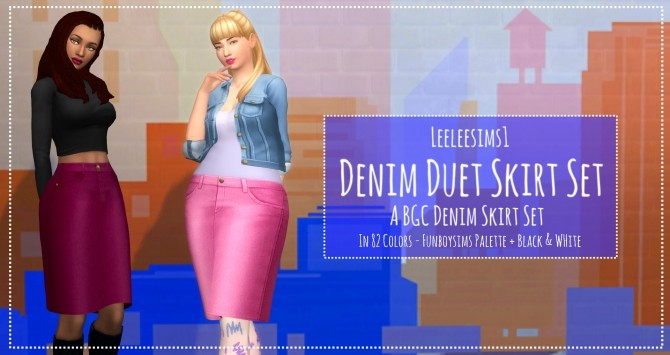 Sims 4 Denim Duet Skirt Set by leeleesims1 at SimsWorkshop