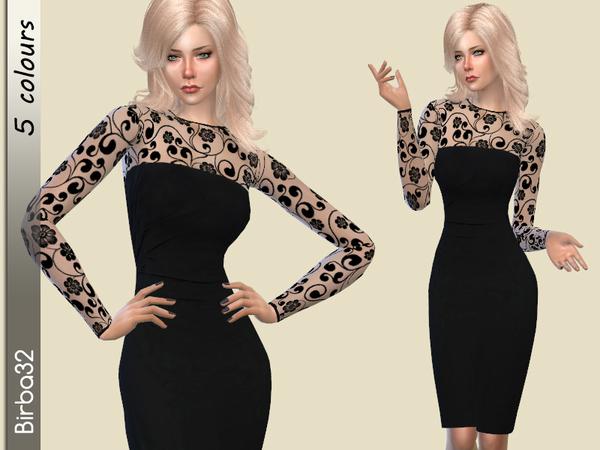 Sims 4 Black autumn dress by Birba32 at TSR