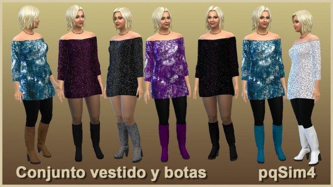 Sims 4 Mary Dress and Boots Set at pqSims4