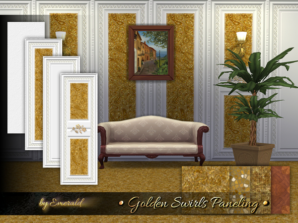 Sims 4 Golden Swirls Paneling by emerald at TSR