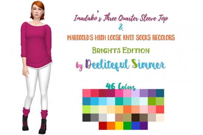 Sims 4 Sleeve tops and knit socks recolors at Deeliteful Simmer