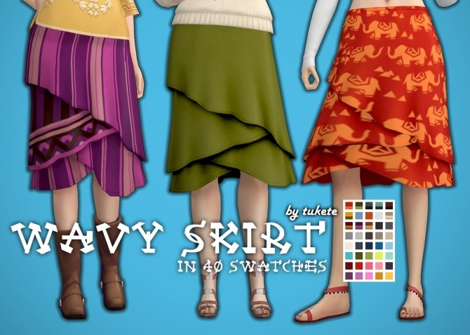 Sims 4 Wavy Skirt separated from CL dress at Tukete