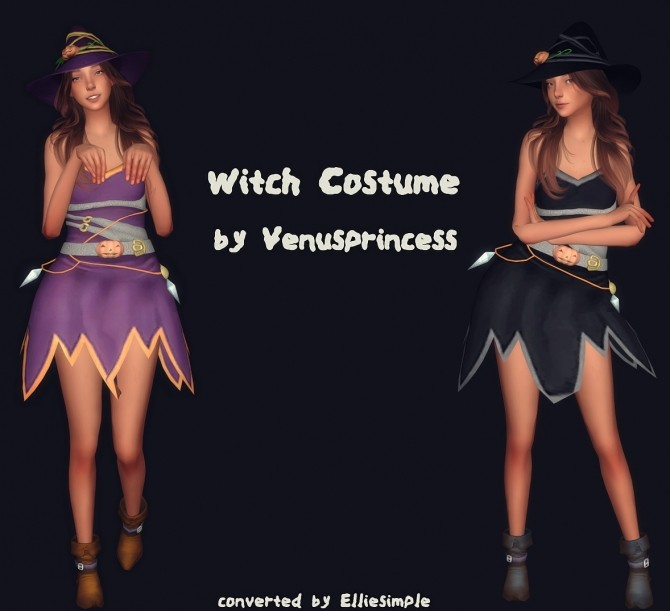 Witch Costume by Venusprincess converted at Elliesimple image 1603 670x611 Sims 4 Updates