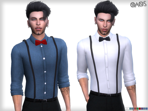 Sims 4 Suspender Shirt With Tie by OranosTR at TSR