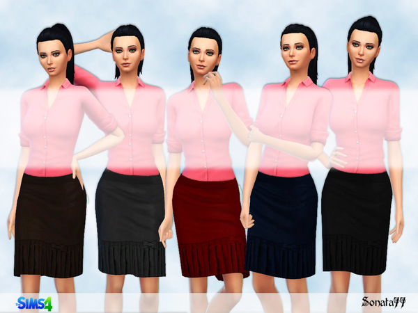 Sims 4 Straight skirt with pleats by Sonata77 at TSR