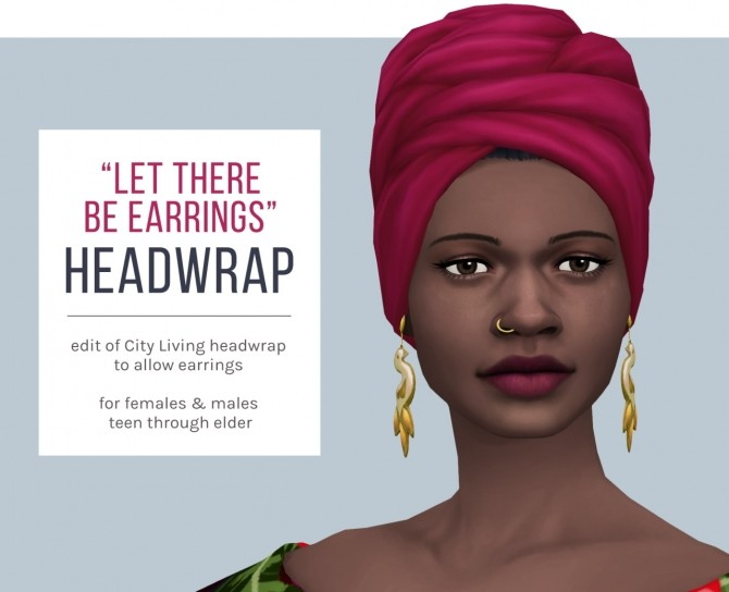 Sims 4 Let There Be Earrings Headwrap at Femmeonamissionsims