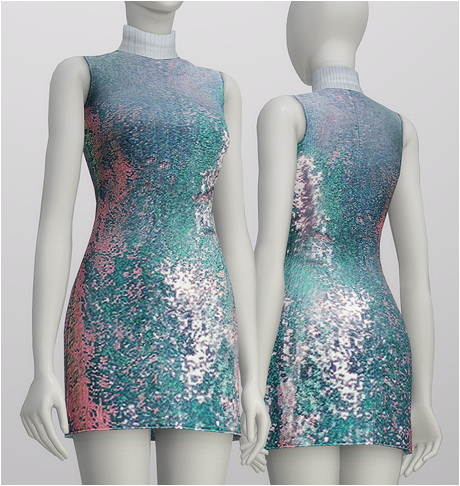 sequined silk turtleneck dress at rusty nail 187 sims 4 updates