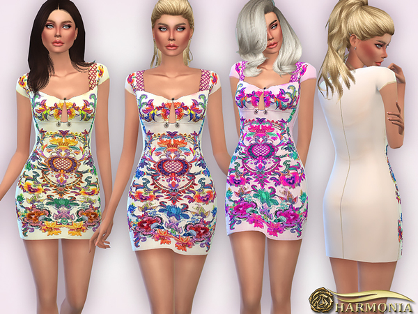 Embellished Embroidered Mini Dress by Harmonia at TSR image 1818 Sims 4 Updates