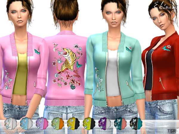 Sims 4 Tiger Embroidered Satin Jacket by ekinege at TSR