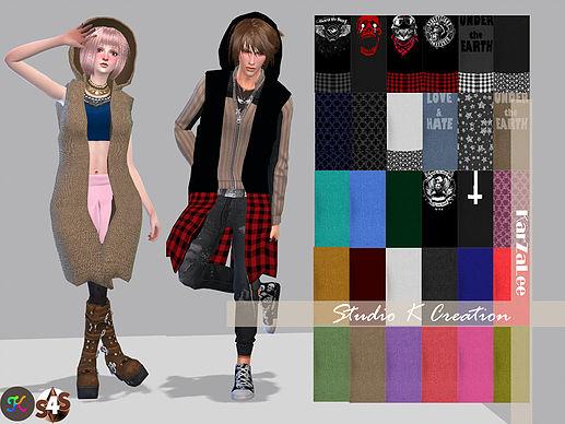 Sims 4 Giruto 15 hoodie long vest at Studio K Creation