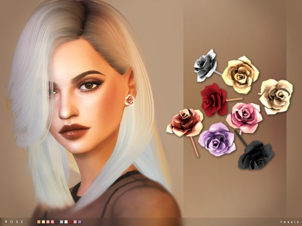 rose earrings by toksik at tsr sims 4 updates