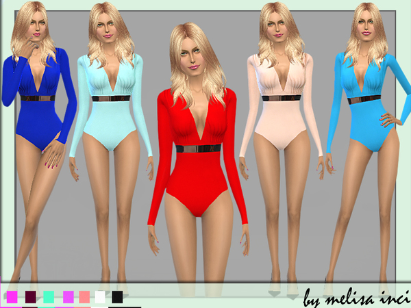 Sims 4 Deep Plunge V Neck Bodysuit by melisa inci at TSR