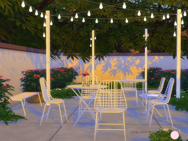 Sims 4 Olive Juice Wire Patio Set by DOT at TSR