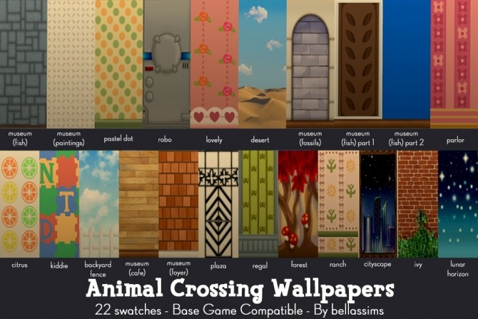 Animal Crossing wallpapers and floors at Bellassims image 2742 670x447 Sims 4 Updates