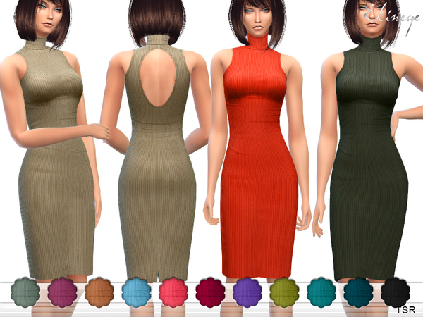 Sims 4 Ribbed High Neck Dress by ekinege at TSR