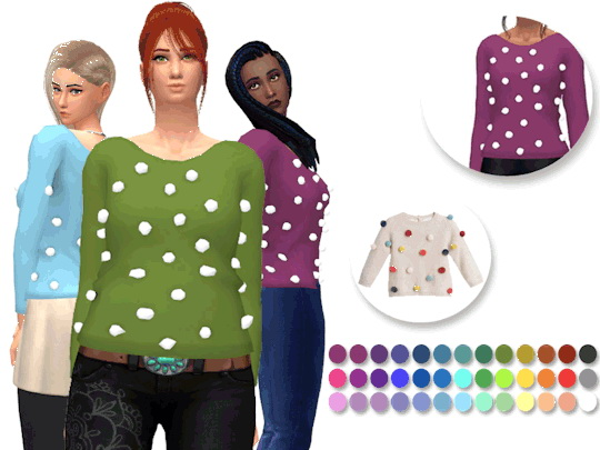 Sims 4 Pom Pom Sweater by xEenhoornx at SimsWorkshop