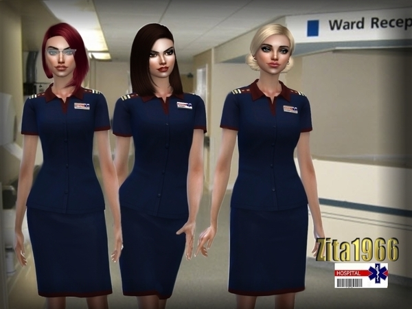 Sims 4 HOSPITAL NURSE/SISTER UNIFORM by ZitaRossouw at TSR