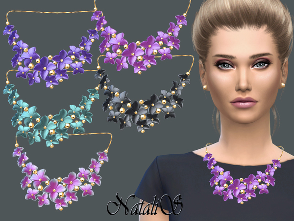 Massive flower necklace by NataliS at TSR image 3104 Sims 4 Updates