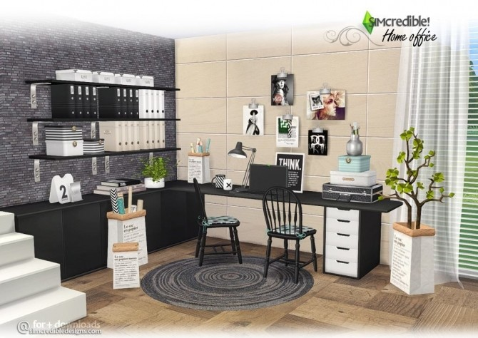 SIMcredible! Designs 4 - Home Office Set - Sims 4 compilation