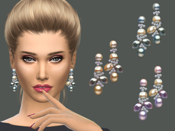 Sims 4 Multicolor pearls earrings by NataliS at TSR