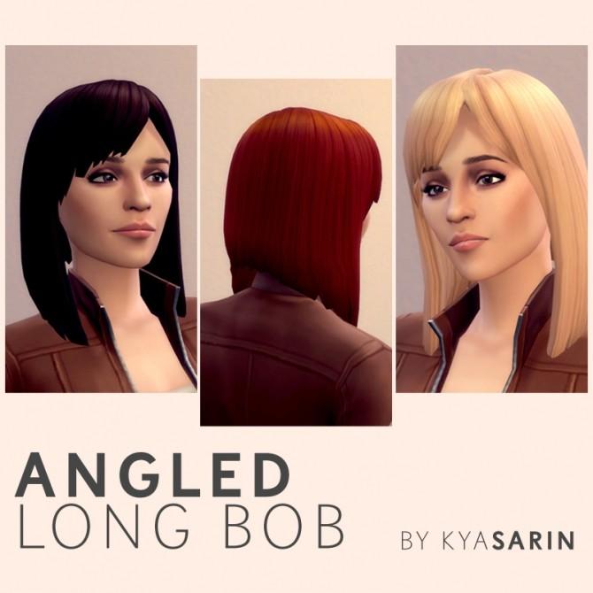 Sims 4 Angled Long Bob Hair by Kya Sarin at Mod The Sims
