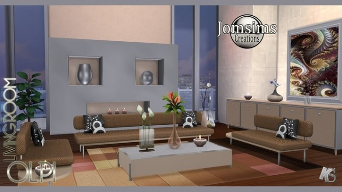 Sims 4 OLPI livingroom by Jomsims at Khany Sims