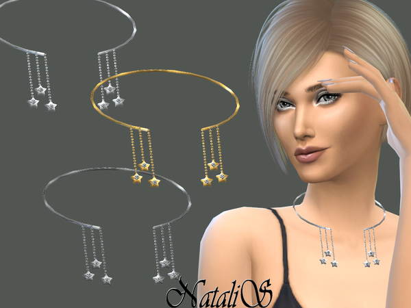 Sims 4 Unlocked choker with chains and stars by NataliS at TSR