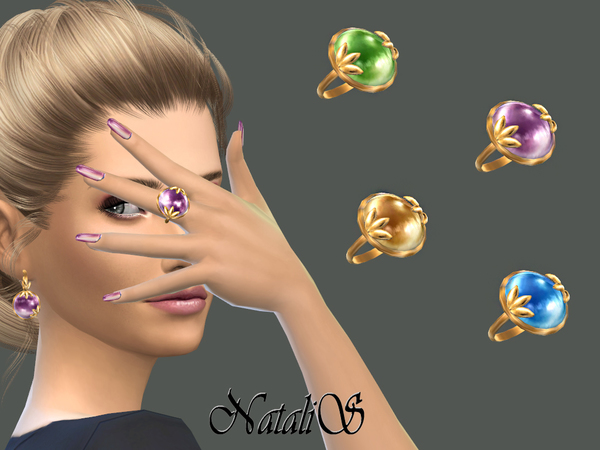 Leafs and cabochon ring by NataliS at TSR image 389 Sims 4 Updates