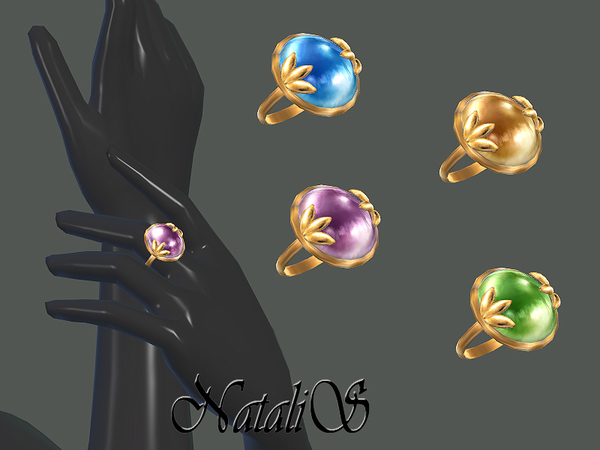 Leafs and cabochon ring by NataliS at TSR image 3911 Sims 4 Updates