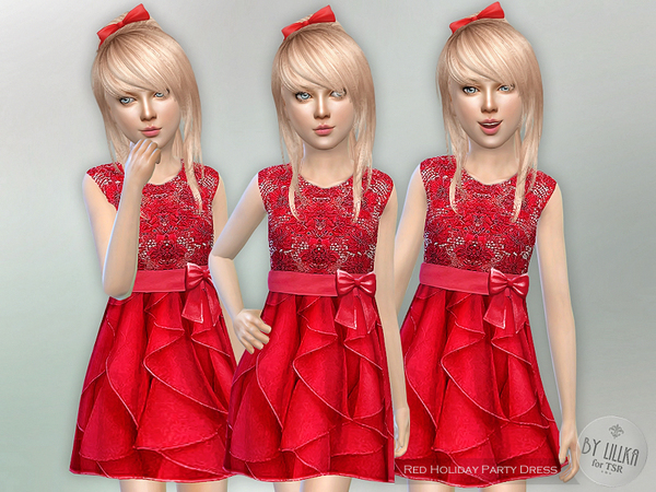Red Holiday Party Dress by lillka at TSR image 428 Sims 4 Updates