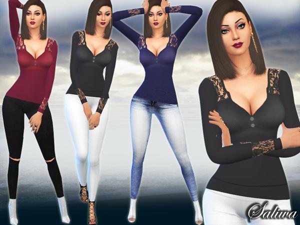 Sims 4 Lace Detail Long Sleeve Tops by Saliwa at TSR
