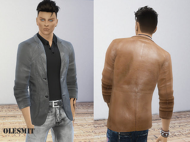 Sims 4 Male leather blazer at OleSims